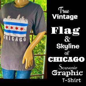 🆕VTG▪️Flag & Skyline of Chicago Graphic T-Shirt